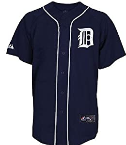 Detroit Tigers Blue Embroidered Replica Baseball Jersey by Majestic by Majestic