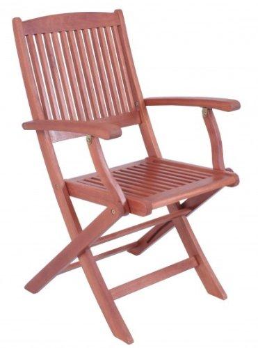 Gartenstuhl 2er Set Klappstuhl mit Armlehnen Eukalyptus FSC-Holz, geölt günstig kaufen
