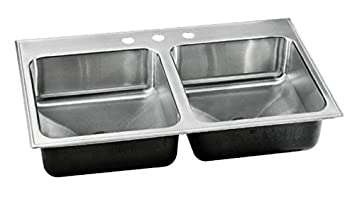 Just Manufacturing DLXD2243A3 Just Mfg - Double Bowl, Drop In, 18 Ga W/Faucet Ledge, Extra Deep SS Sink