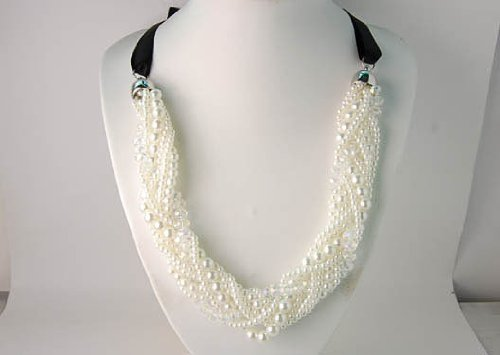 Multi Strands Wrap Synthetic Faux Pearl Clear Beaded Bead Black Ribbon Necklace