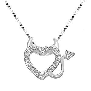 Diamond Accent Devil Heart Pendant 14k White Gold Over Sterling w 18