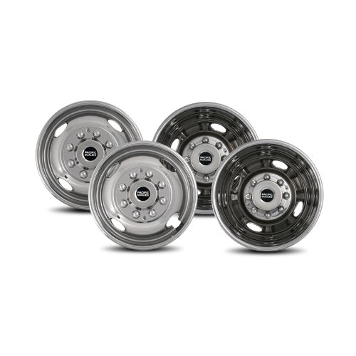 Pacific Dualies 38-1608 Polished 16 Inch 8 Lug Stainless Steel Wheel Simulator Kit for 1974-2000 Chevy GMC 3500, 1974-1998 Ford F350, 2008-2017 Ford E350/E450 Van, 1974-1999 Dodge Ram 3500