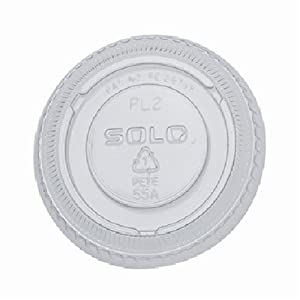 Solo  2-Ounce Plastic Portion Cup Clear Lids, 100-Count Packages (Pack of 25)