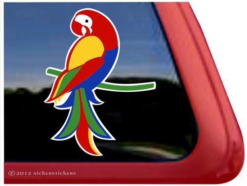 Beautiful Full Color Macaw Parrot Bird Vinyl Window Decal front-378285