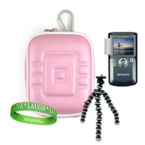 Polaroid DVF-130 USB Camcorder, Mini Camcorder Accessories Kit: EVA Smooth Baby Pink Protective Hard Polaroid Camera Case + Polaroid Camera Tripod with Flexible Grip Legs + Universal Polaroid Screen Protector + Live * Laugh * Love VG Wrist Band!!!