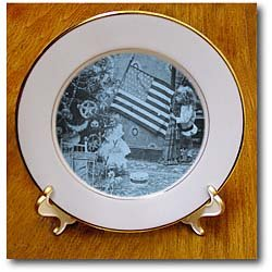 Girl and American Flag Vintage Christmas Cyan tone - 8 Inch Porcelain Plate