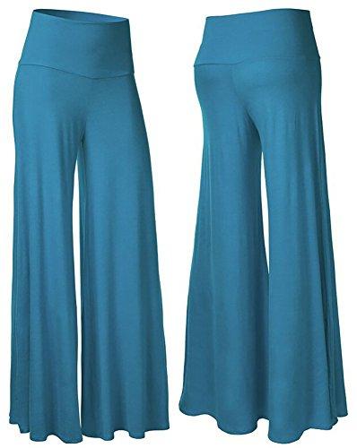 happy-lily-da-donna-vita-alta-slinky-larghi-palazzo-bell-bottom-pantaloni-da-yoga-turchese-blu