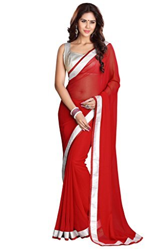 Sourbh Sarees Women's Red Faux Georgette Saree With Unstitched Blouse Piece