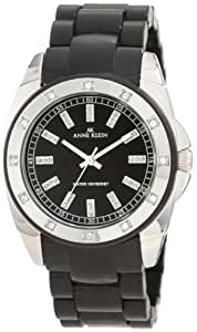 Anne Klein Women's 109179BKBK Swarovski Crystal Accented Black Plastic Dress Watch