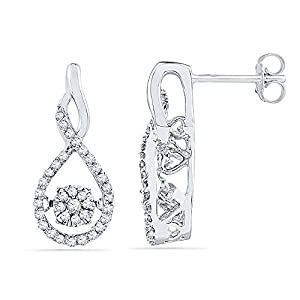 Twinkle Diamond Earrings 10k White Gold 1/3 CTW 70 Diamonds