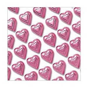 Pink Solid Foil Wrapped Milk Chocolate Hearts