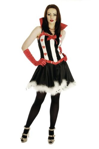 Ladies Queen Of Hearts Alice In Wonderland Fancy Dress Costume Sexy Outfit Size Small, Meduim Or Large