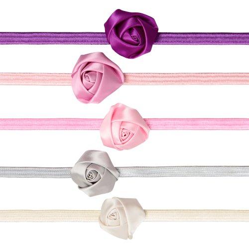 5 Pack Rose Flower Headbands For Girls, Babies, Toddler & Child front-1057106