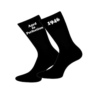 Aged to Perfection 1946 Black Mens Socks for 70th Birthday Present 2016