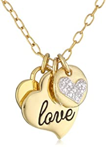 """Bronze and 18k Yellow Gold Plated Two-Tone Multi-Heart with """"Love"""" Pendant Necklace, 18"""""""