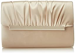 La Regale Modern Satin Roll Clutch,Champagne,One Size