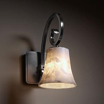 Justice Design ALR-8571-20-DBRZ Victoria One Light Wall Sconce, Choose Finish: Dark Bronze Finish, Choose Lamping Option: Standard Lamping