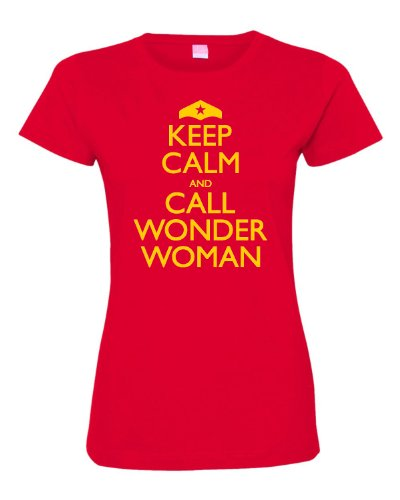 Womens Keep Calm And Call Wonder Woman Deluxe Soft T-Shirt