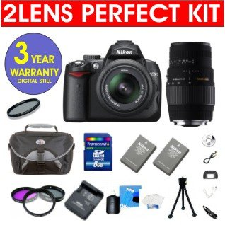 """Nikon D5000 12.3 Mp Dx Digital Slr Camera With 18-55Mm F/3.5-5.6G Vr Lens And 2.7-Inch Vari-Angle Lcd + Sigma 70-300Mm Macro Zoom Lens + High Capacity Li-Ion Battery + 4 Gb Memory Card + 50"""" Titanium Anodized Tripod + 6 Piece Accessory Kit + Deluxe Padded"""