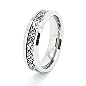 6mm Tungsten Carbide with Silver-Colored Celtic Dragon Inlay Wedding Band Size 11