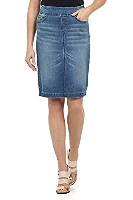 "Rekucci Jeans Women's ""Ease In To Comfort Fit"" Pull-on Stretch Denim Skirt"