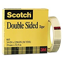 Scotch® Double Sided Tape 665, 3/4-inch x 1296 Inches, Boxed