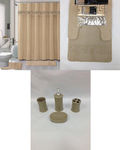19 piece bath accessory set beige soft memory foam for Beige bathroom accessories set
