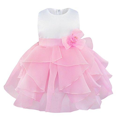YiZYiF Baby Taufkleid Festkleid Blumenmädchenkleid Hochzeit 68 74 80 86 92 98 (62-68, Rosa)