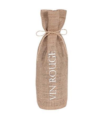 KAF Home Vin Rouge Drawstring Wine Bag, White