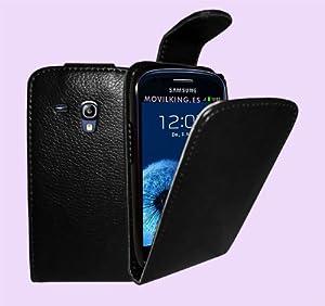 Negra Funda de Cuero para Samsung GT-i8190 Galaxy S3 SIII Mini - Flip Case Cover + 2 Protectores de Pantalla