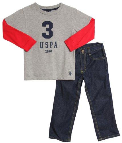 U.S. Polo Assn. Little Boys' Denim Pant With Knit Hangdown Shirt, Light Grey Heather, 4
