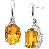 3 1/5 ct Citrine & 1/6 ct Diamond Drop Earrings