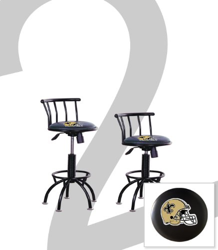 "2 New Orleans Saints Themed Adjustable Height 24""-29"" Black Metal Finish Swivel Seat Bar Stools! at Amazon.com"