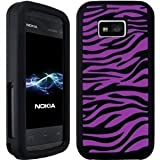 Wayzon Nokia 5530 XpressMusic Case Cover Skin Pouch Silica Rubber With Black And Purple Zebra Pattern On Back