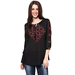 WOMEN'S Black CROSS STITCH EMBROIDERED TOP