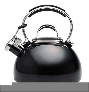 KitchenAid Teakettle 2-Quart Gourmet Essentials Porcelain Enamel Kettle , Black by KitchenAid