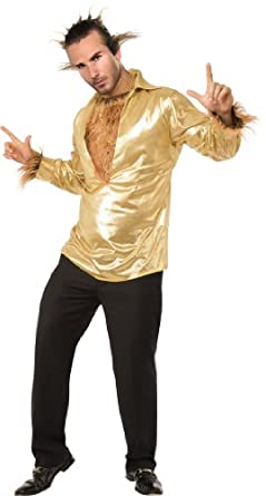 Rubie's Costume Heroes and Hombres Disco Wolf Shirt With Hairy Chest, Gold, Standard Costume