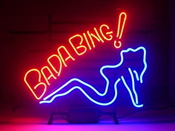 new bada bing girl real glass neon light sign home beer bar pub recreation room game room. Black Bedroom Furniture Sets. Home Design Ideas