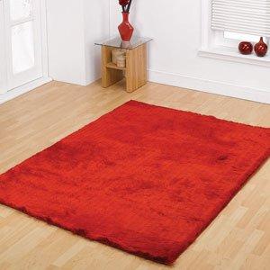 splendour shadow bright red deep pile shaggy rug modern