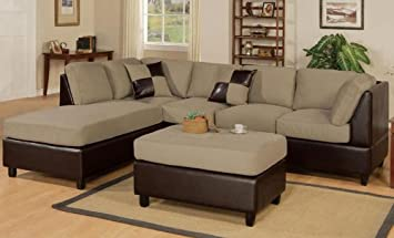 Pebble Finish Reversible Sectional Sofa by Poundex