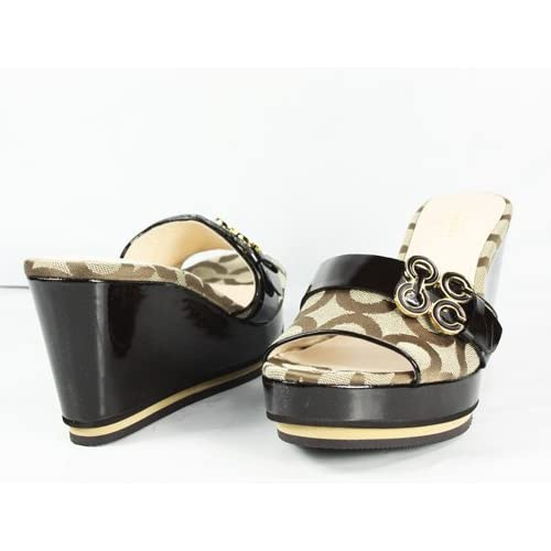 coach geri patent leather wedge shoes