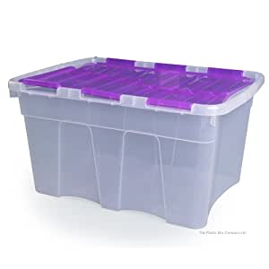 Large Plastic Storage Boxes Croc 54Ltr - Set Of Five With Purple Lid And Fuschia Base