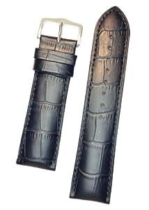 HIRSCH Duke L, Alligator Grain Watch Strap in Blue, 20 mm, Steel Buckle