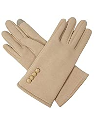 Dahlia Women's Touchscreen Gloves - Four Button Accent - Camel