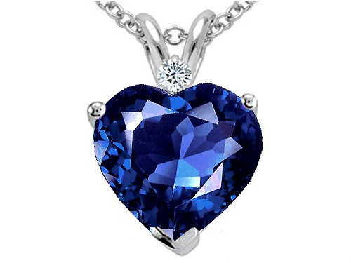 2.02 cttw Created Sapphire and Genuine Diamond Heart Pendant - 14kt White or Yellow Gold:   Sapphire Birthday Gift
