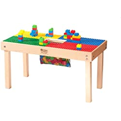 "Duplo Compatible Table 32"" x 16"" with Built In Block Storage- Made in the USA - Solid Hardwood Legs and Full Side Frames BUILT TO LAST"