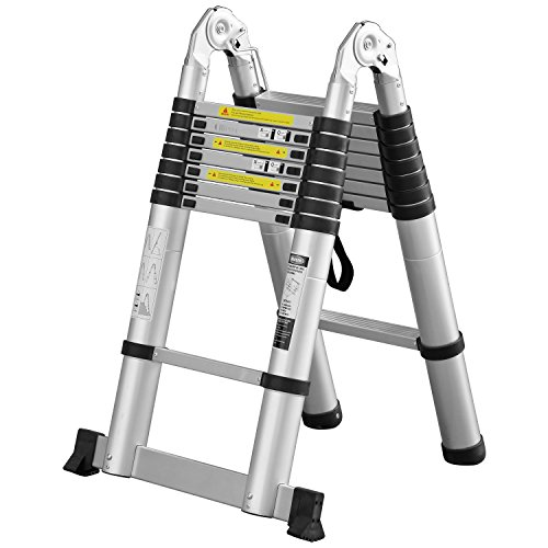 Ollieroo 16.5ft EN131 Portable A-type Aluminum Telescopic Extension Ladder with Spring Loaded Locking Mechanism Non-slip Ribbing 330lb Capacity (Construction Sound Insulation compare prices)