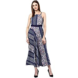 Bhama Couture Blue Printed Layer Maxi Dress X-Small