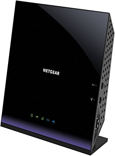 Netgear D6400-100PES AC1600 Mbps WiFi Modem Router, VDSL/ADSL/Fibra, 4 Porte Gigabit, 1 Porta WAN, Dual Band, Processore Dual Core 400 MHz, 2 Porte USB 2.0, Nero/Viola