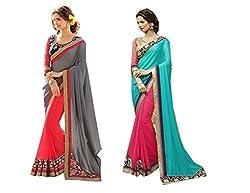 Pragya creations Women's Chiffon Saree (Prag45_Multi)-pack of 2